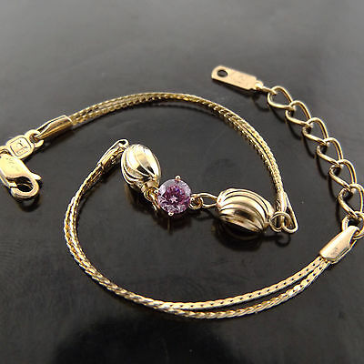 BRACELET CUFF BANGLE GENUINE REAL 18K YELLOW G//F GOLD SOLID MEDAL BEAD DESIGN