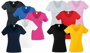 Fruit-Of-The-Loom-LADIES-T-SHIRT-V-NECK-LADY-FIT-COTTON-LYCRA-TOP-TEE-XS-2XL