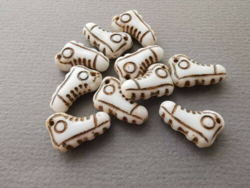 Czech glass pressed white shoe beads 15 x 10 mm pack of 4