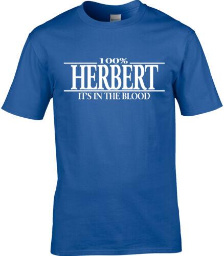 Herbert Surname Mens T-Shirt 100/% Gift Name Family Cool Fun