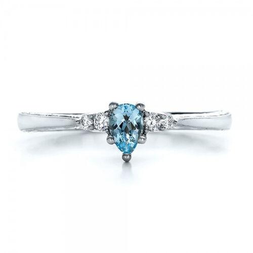 Women Elegant Sea Blue Crystal Ring Wedding Engagement Ring Jewelry Z
