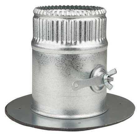 GREENSEAM GR6POCR4GA26D Collar W/Damper, 4 in Duct Dia, Galvanized Steel, 26