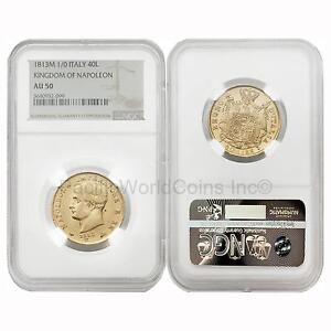 Italy-1813M-Kingdom-of-Napoleon-40-Lire-Gold-NGC-AU50