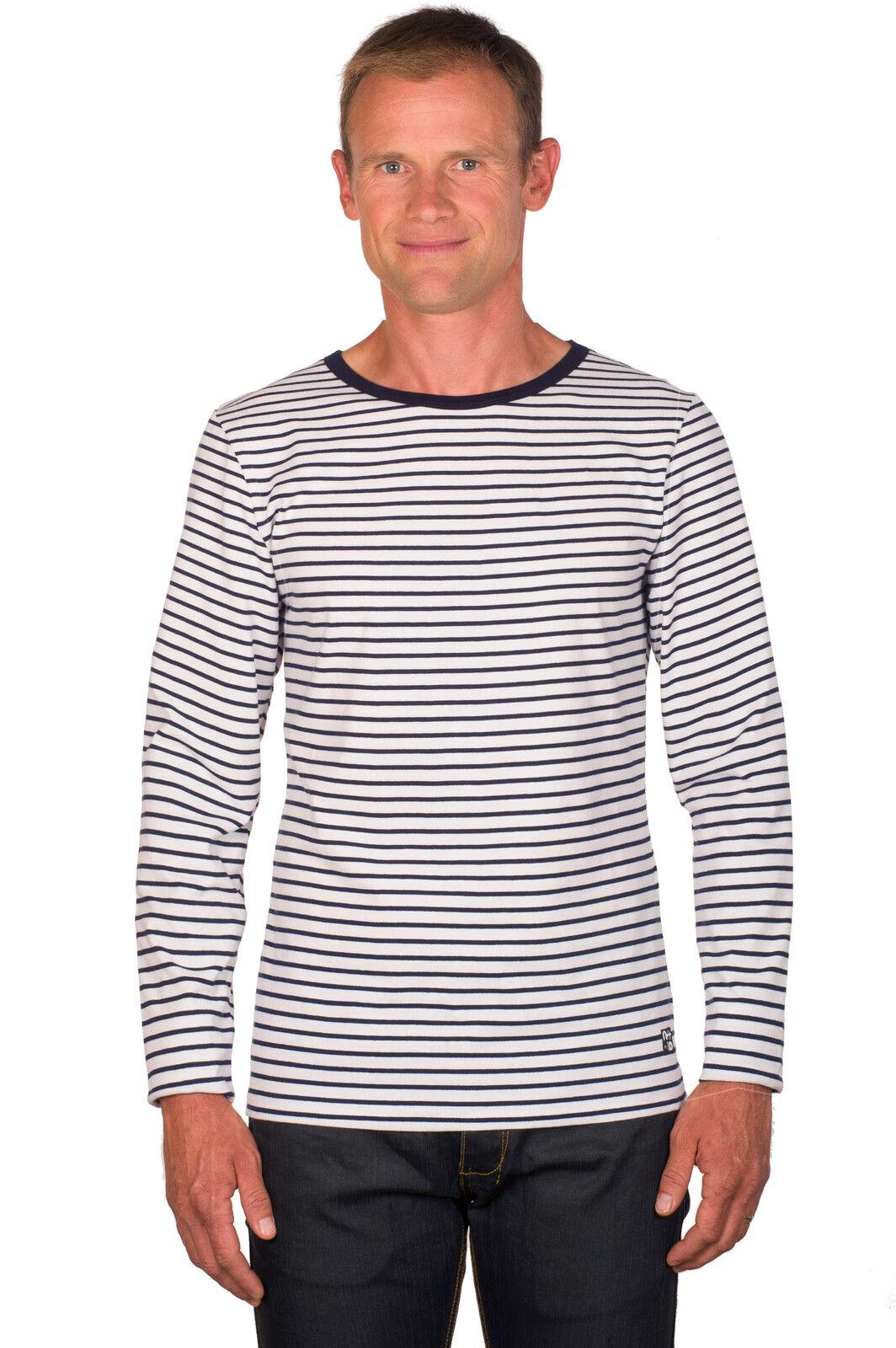 Ugholin Herren Baumwolle Weiß und Blau Gestreift Langarm T-Shirt     | Das hochwertigste Material