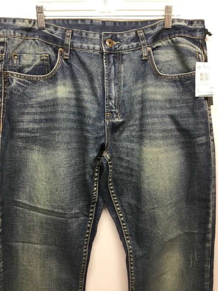 NWT Buffalo David Bitton Six Basic Slim Straight Dark Distressed Men Jeans W36