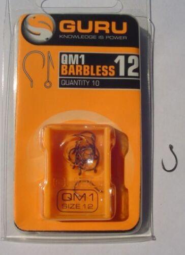 GURU QM1 HOOKS BARBLESS EYED MATCH METHOD HOOKS SIZES 10 TO 18