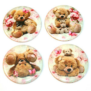 Cute-Teddy-Bears-Fridge-Magnet-Set-55mm-4pc-Shabby-Chic-Roses-Gift
