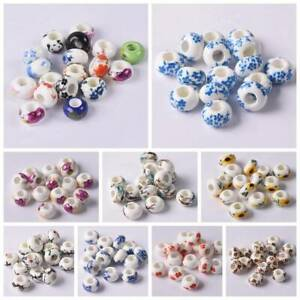 HOT-10pcs-Ceramic-Rondelle-Charm-Big-Hole-Beads-Fit-European-Bracelet-Craft