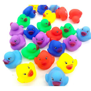12 Pcs Colorful Baby Children Bath Toys Cute Rubber Squeaky Duck Ducky Hn