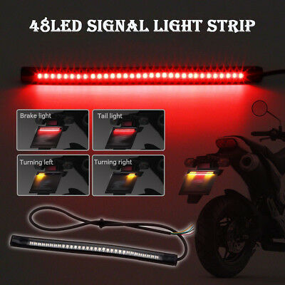 Motorcycle 48 LED Light Strip Tail Brake Stop Turn Signal Integrated LED Light