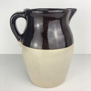 Vintage-2-Tone-Pottery-Crock-8-25-Pitcher-Stoneware-Tan-amp-Brown