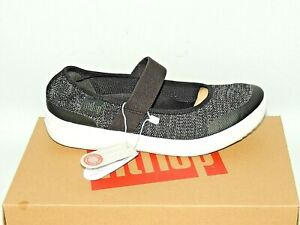 7408155bae0e59 Image is loading FITFLOP-UBERKNIT-MARY-JANE-SHOES-BLACK-SOFT-GREY-