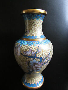 image is loading cloisonne enamel chinese vase important flowers gold trim