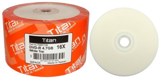 300 16X Titan White Top Blank DVD-R DVDR Disc Storage Media 4.7GB