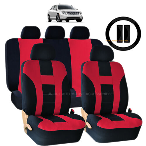 12PC RED /& BLACK DOUBLE STITCH SEAT COVER /& STEERING WHEEL COMBO FOR CARS 1022