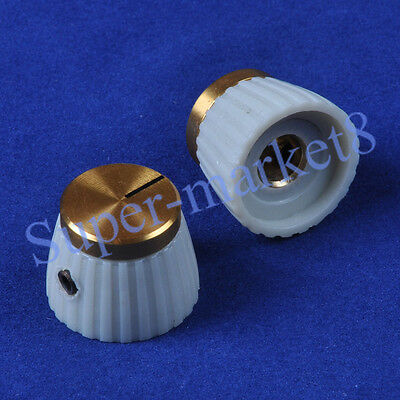 """50pcs Marshal Style Guitar Tube Amp Control Knob With Gold Top 1/4"""" Cream/Gray"""