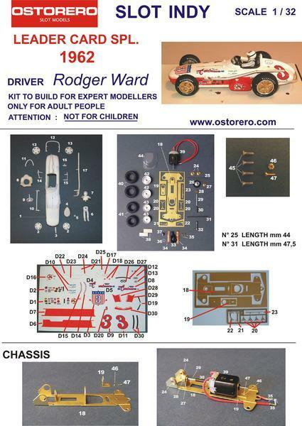 Ostorero Watson Offenhauser - Rodger Ward - 1962 Indy 500 1 32 Slot Car ODG 185