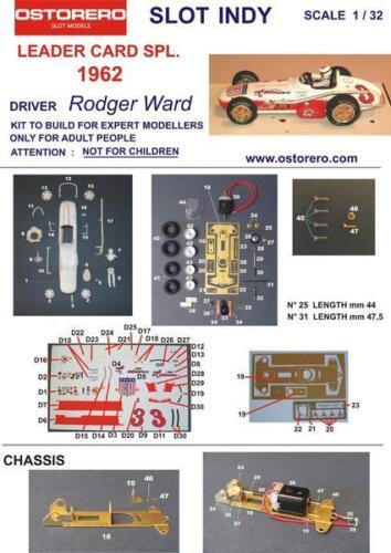 Ostorero Watson Offenhauser - Rodger Ward - 1962 Indy 500 1/32 Slot Car ODG 185