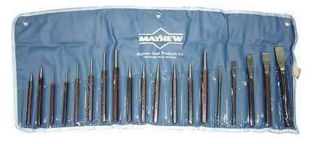 MAYHEW 61019 Punch and Chisel Set,19 Pieces