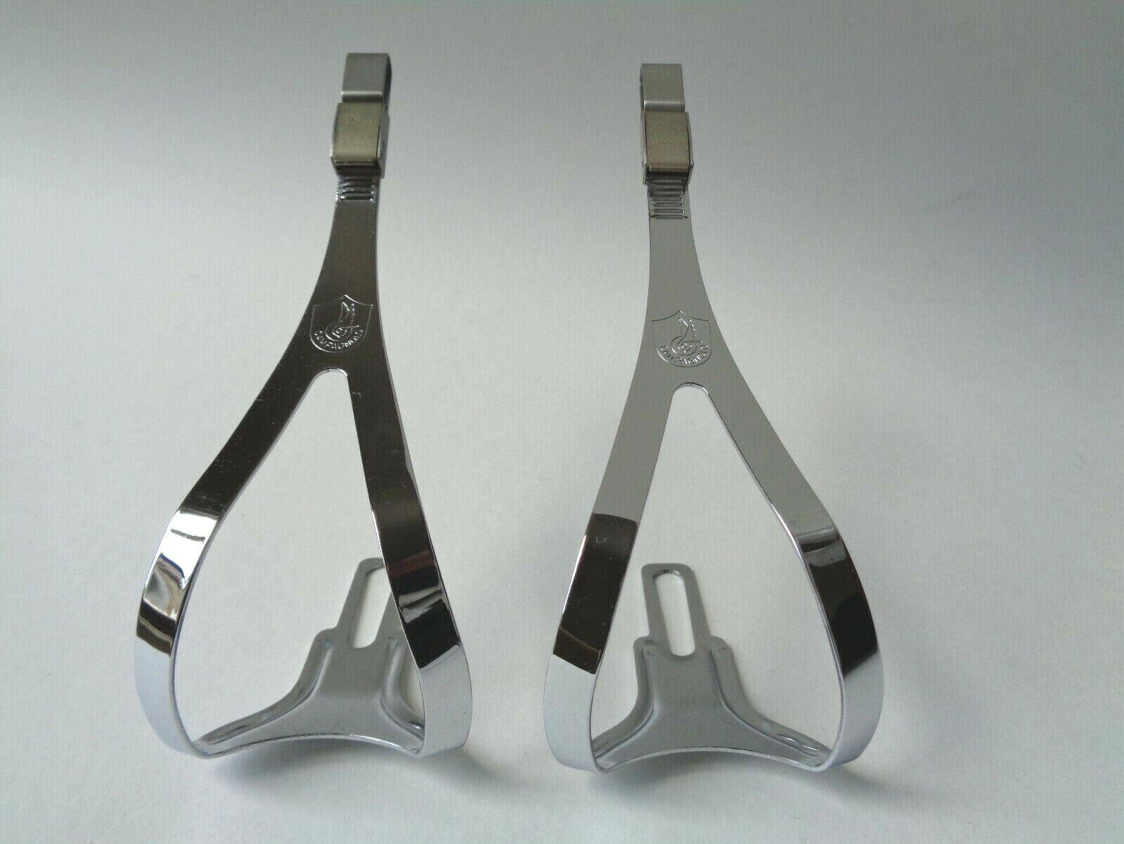 NOS Vintage 1980s Campagnolo C Record adjustable Aero pedal toe clips (Medium)