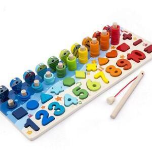 16 Set Kids Wooden Toys Montessori Geometry Math Learning Educational Toys