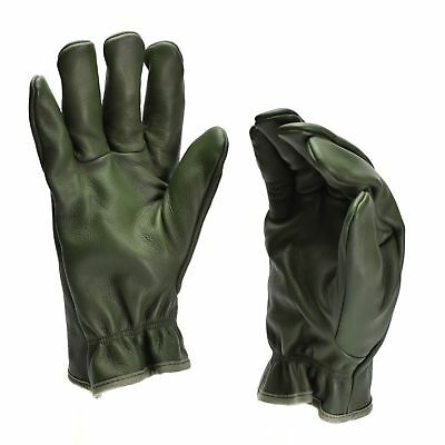 Genuine German Police leather OD gloves patrol Olive lined wool 100/% winter NEW
