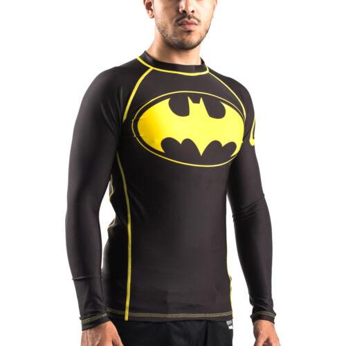 Fusion Fight Gear Batman Inverted Logo Compression Shirt BJJ Rash Guard- Black