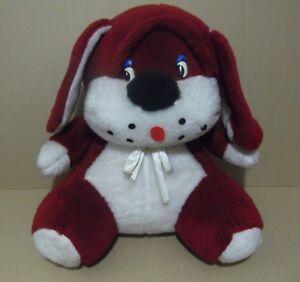 Peluche-Vintage-Gran-perro-cabezon-sentado-Rojo-y-blanco-50cm