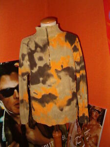 EX10-AIRFIELD-Ripp-Strick-Pullover-Troyer-khaki-orange-128-140-Batik