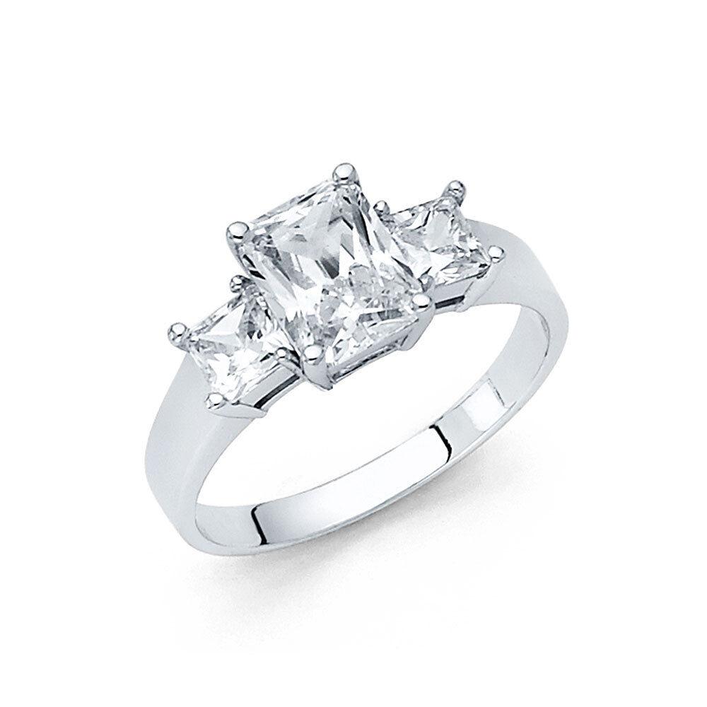 14k Solid White gold 2 CT Emerald 3 Stone Diamond Engagement Wedding Ring