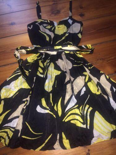 Xs Mango Suit Seide Weiß Schwarz Seidenkleid Kleid 34 Gelb 48TwUqxf4