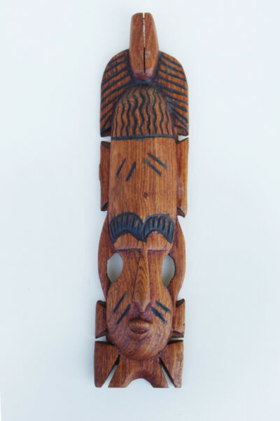 Maschera Legno Intagliata A Mano - Stile Etnico Africano Manifattura Artigianale