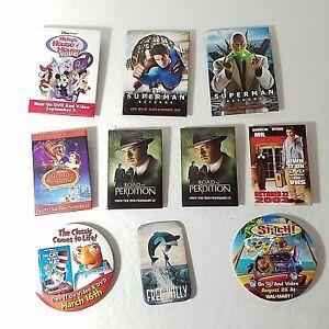 1b61e26f7 Details about Lot of 9 Movie Promotional Pins Disney Enterprises, Columbia, Dreamworks  Walmart
