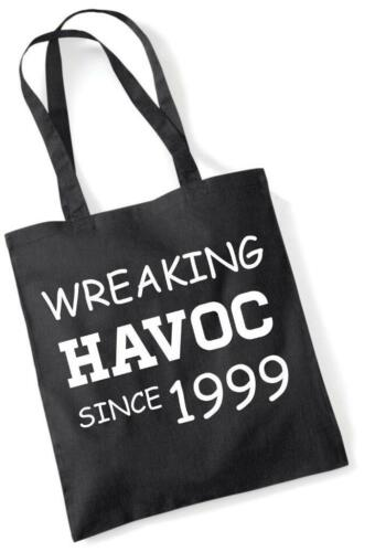 20th Birthday Gift Tote Shopping Cotton Novelty Bag Wreaking Havoc Since 1999
