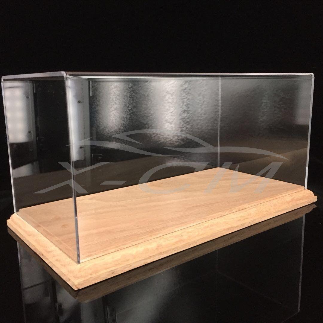 Car Model Transparent Display Show Case Wooden Base 1 18
