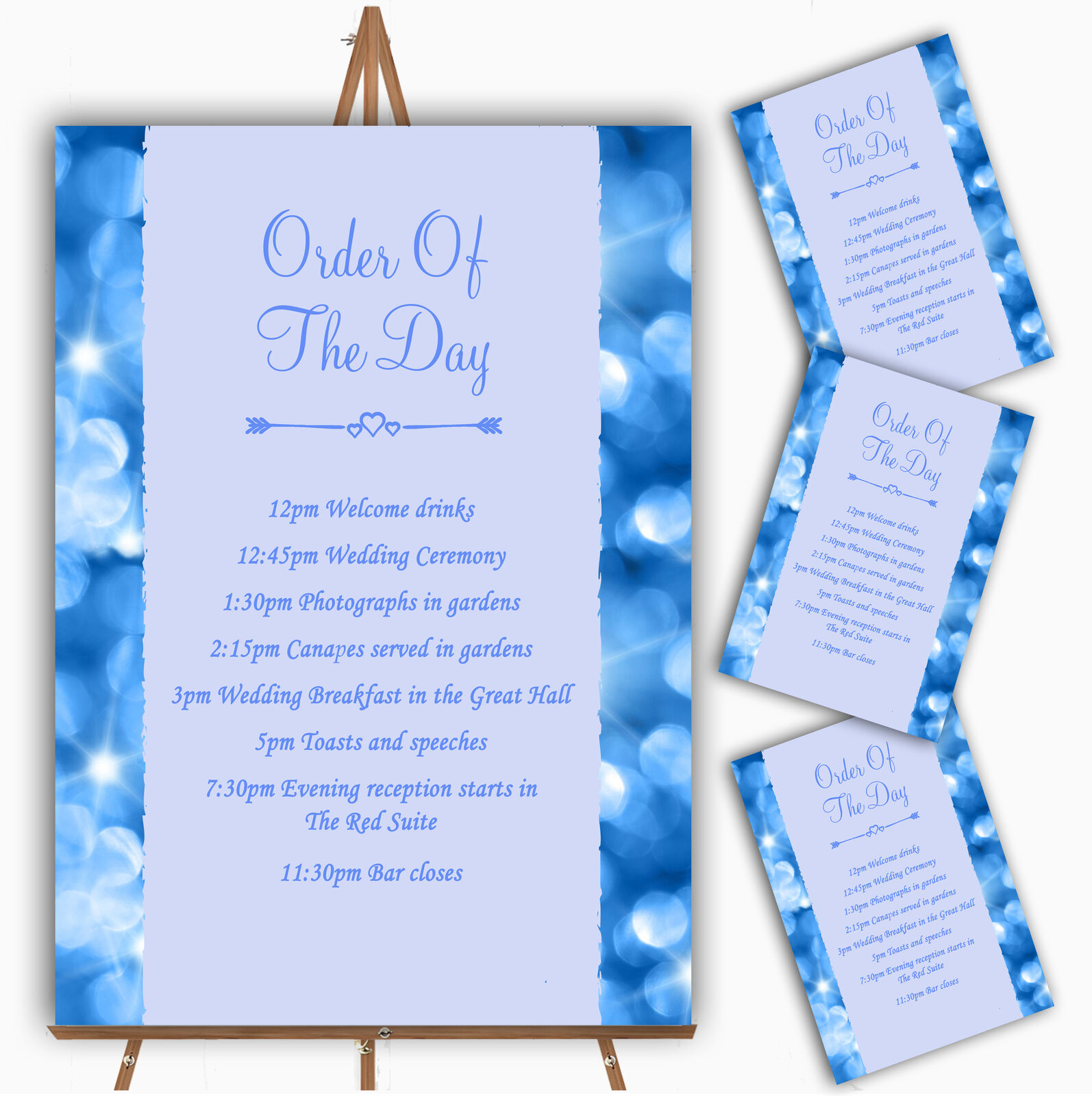 Twinkling Blau Lights Personalised Wedding Order Of The Day Cards & Signs