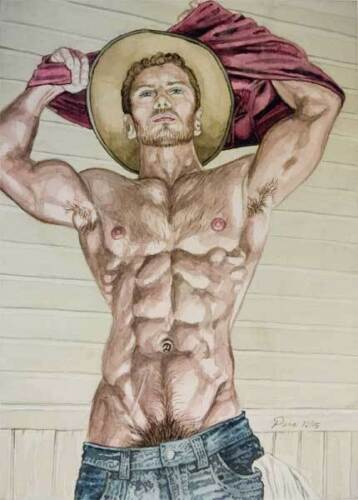 Oh boy homme nu watercolor print nude male cowboy with red shirt gay interest