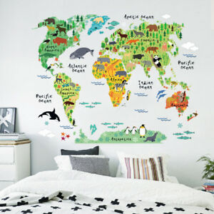 Animal educational world map wall sticker decal for kids baby room image is loading animal educational world map wall sticker decal for gumiabroncs Gallery