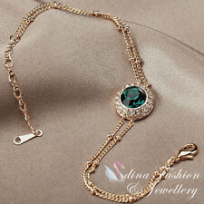 18K Rose Gold Plated Made With Swarovski Crystal Double Chain Halo Bracelet