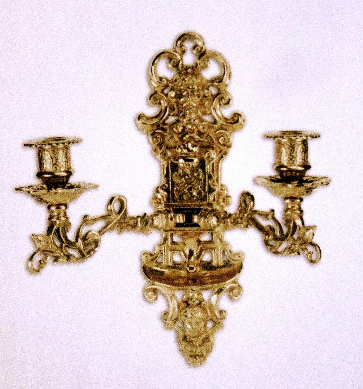 Antico Candelabro da Muro, Luce da Parete, Pianoforte, Ottone Brunito, Barocco
