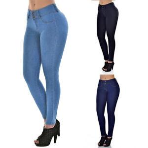 sexy damen denim jeans lang hosen jeggings stretch skinny. Black Bedroom Furniture Sets. Home Design Ideas