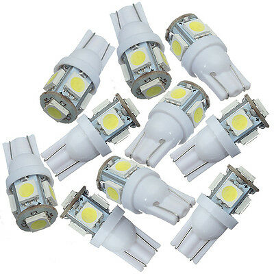 10x Car Side Wedge Park Tail Light Lamp Bulb 12V White T10 5050 W5W 5SMD LED