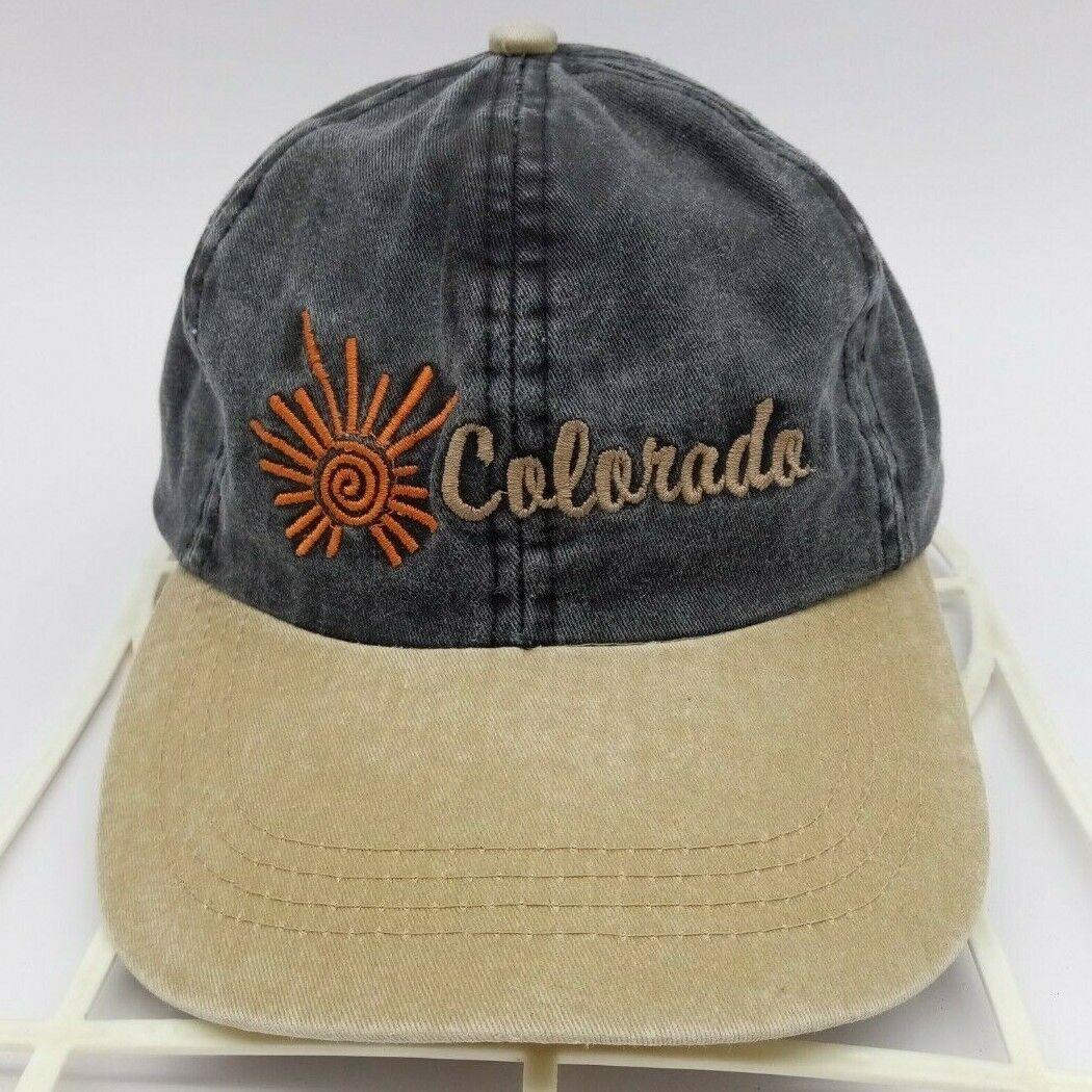 Vintage Colorado Hat Cap Sportswear/Beach Strap-back Denim color Grey Beige