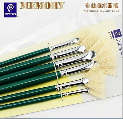 memory white FAN TOP painting brushes For Acrylic,Oil and Watercolor 6pcs