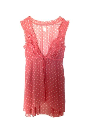 JLO Pink Dots Shear Front Tie Cami Blouse Size S