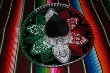 "Authentic Mexican Mariachi-Sombrero Charro Hat True Adult 23"" Tri Color Tri"