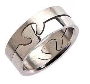 8mm 2 Part Surgical Grade 316L Stainless Steel Puzzle Ring