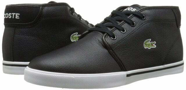 38ccf93ce Lacoste Ampthill Men s Tumbled Leather High Top Round Toe Casual Sneakers  Black