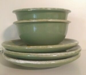 5-PC-Green-Avacodo-drip-Hull-USA-Saucers-Small-Bowls-Collector-Dishes-Vtg