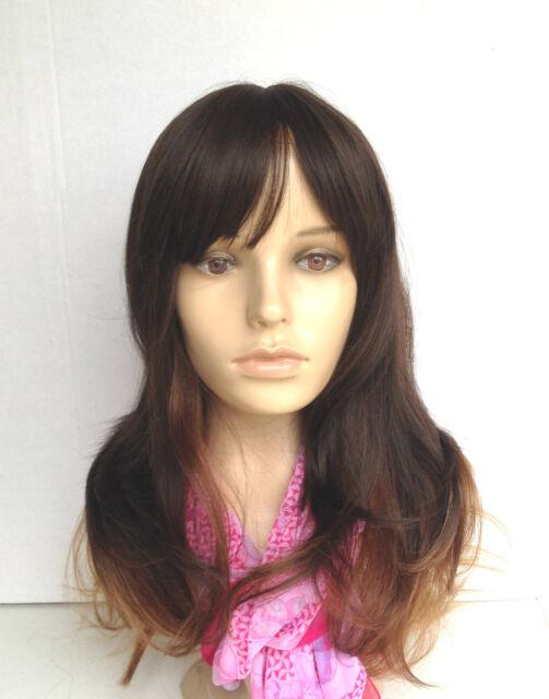 Ombre Natural Wig(+cap) Skin-Top Heat Friendly/Resistant Black Brown Blonde Long